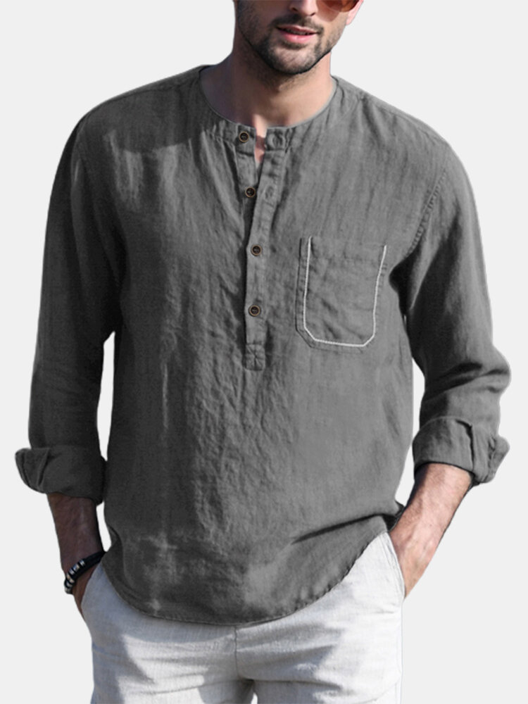 Plus Size Mens Solid Cotton Casual Long Sleeve Henley Shirts With Pocket