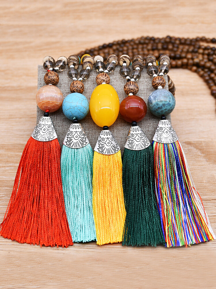 Vintage Ethnic Tassel Pendant Alloy Turquoise Chicken Wing Wood Beads Necklace