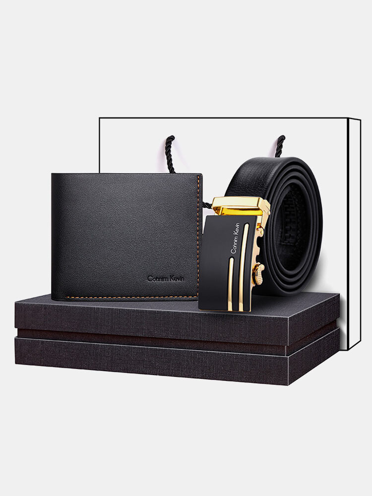 Men Genuine Leather Cow Leather Father's Day Money Clip Card Case Wallet Belt Gift Box Set