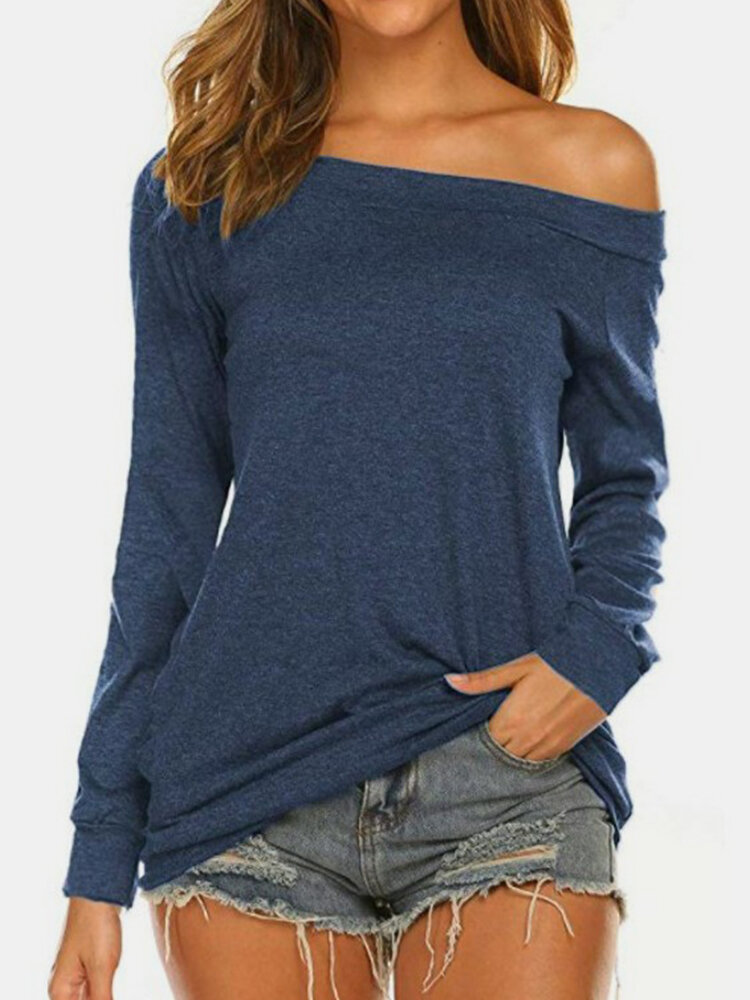 Solid Color Off-shoulder Long Sleeve Casual T-shirt for Women