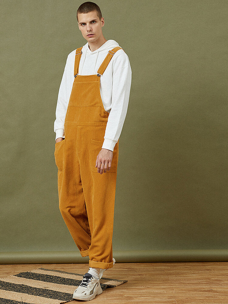 Mens Corduroy Solid Color Casual Button Overalls Jumpsuits With Pockets