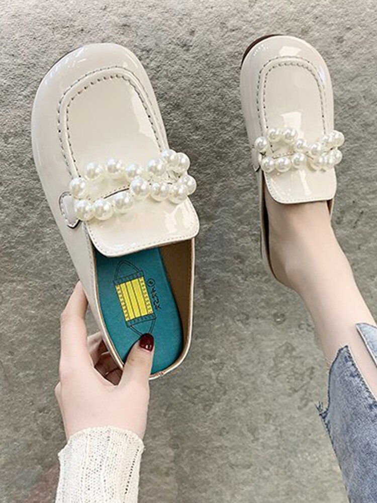 Women Comfy Large Round Closed Toe Pearl Flat Slippers