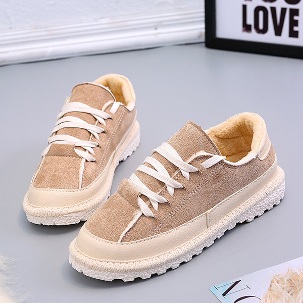 Fur Lace Up Flat Casual Shoes