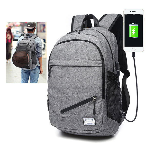 Outdoor Travel Canvas Backpack 17'' Laptop Bag Basketball Bag With USB Socket