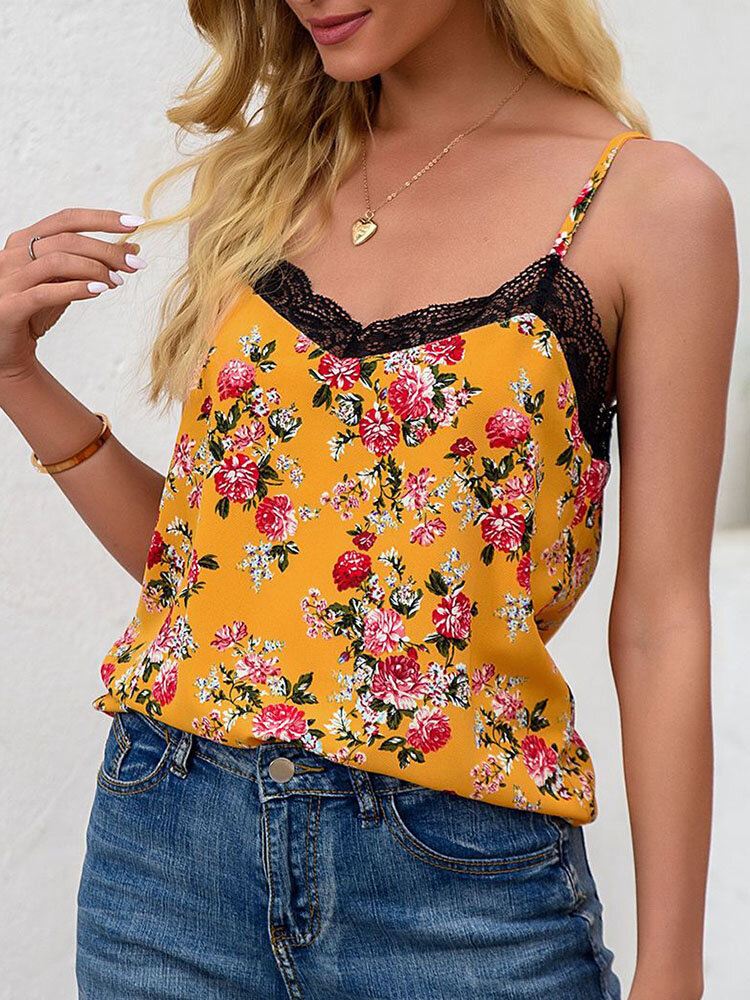Floral Print Lace Patchwork Adjustable Strap Women Sexy Cami
