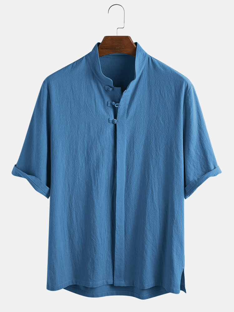 Mens 100% Cotton Oriental Ethnic Solid Color Stand Collar 3/4 Sleeve Shirt