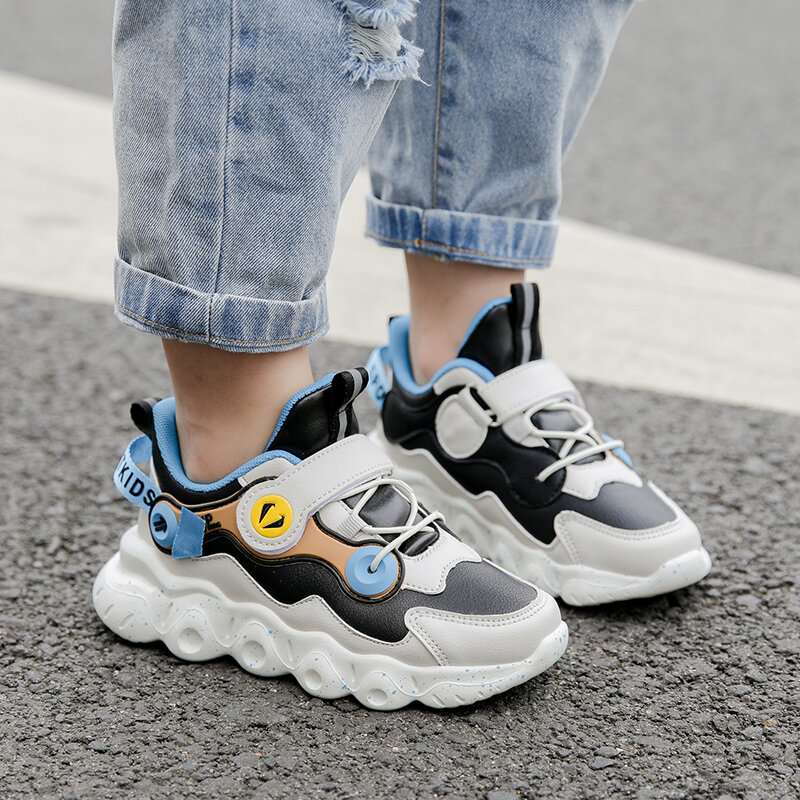 HOBIBEAR Boys Colorblock Microfiber Leather Splicing Non Slip Casual Chunky Sneakers