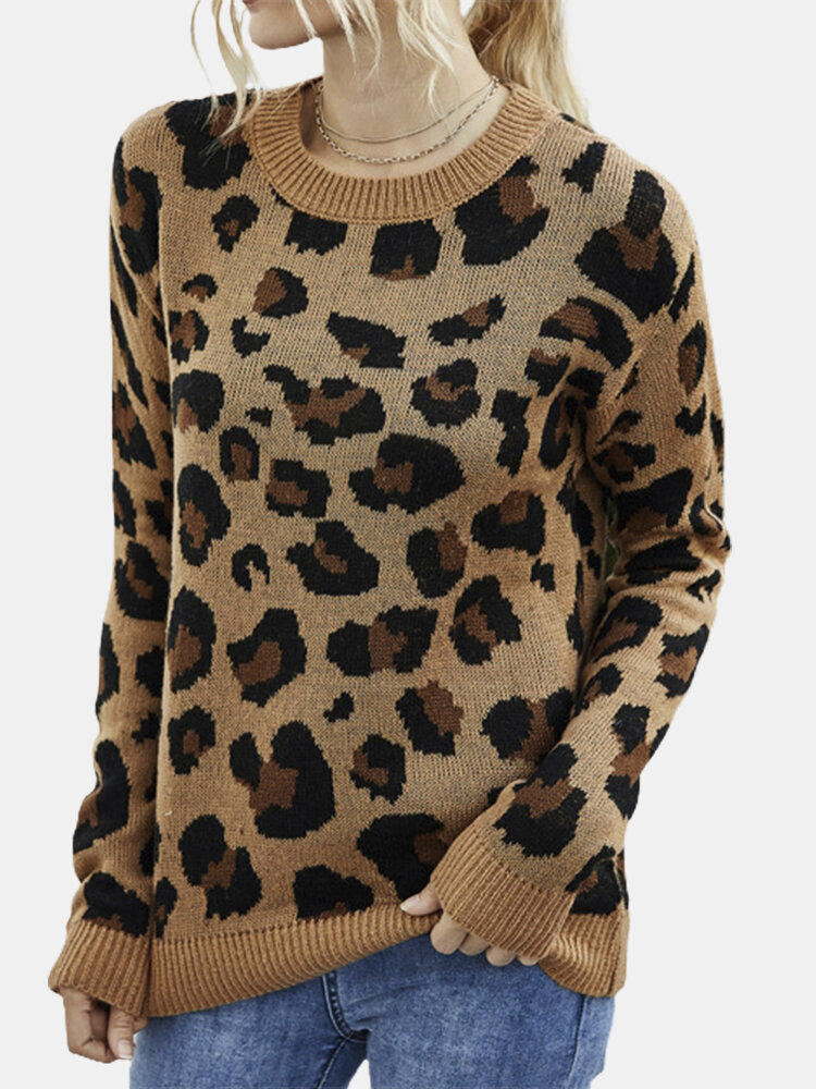 Leopard Printed Long Sleeve O-neck Sweater For Women