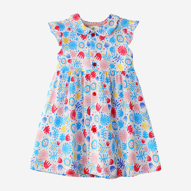 Girl's Flying Sleeves Floral Print Light Blue Casual Dress For 2-10Y