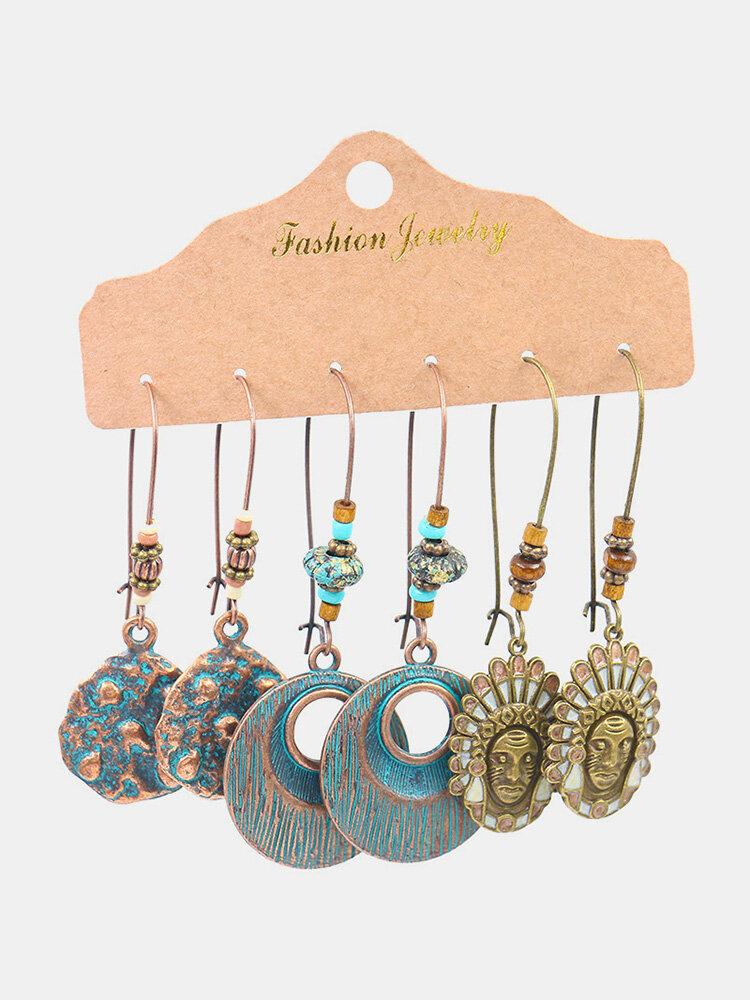 Bohemian Geometric Hollow Water Drop Pendant Earrings Vintage Turquoise Sun Flower Earring Set