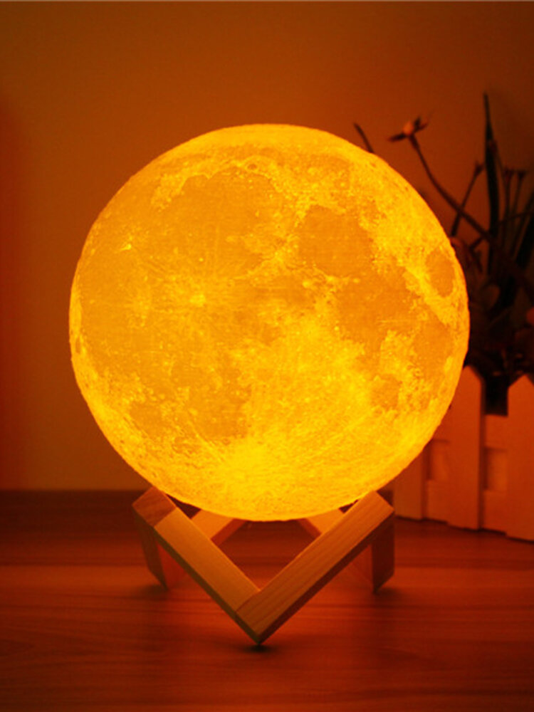 15cm 3D Magical Two Tone Moon Lamp USB Charging LED Night Light Touch Sensor Velantine Gift
