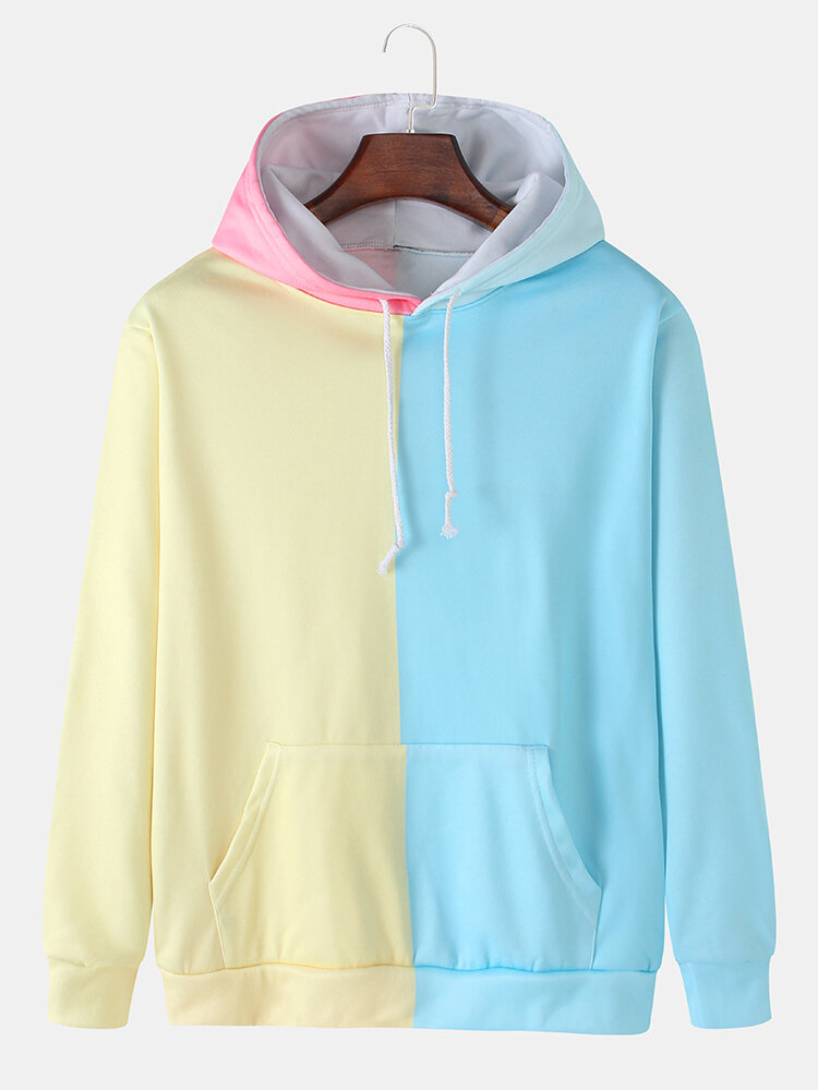 Mens Color Block Patchwork Loose Pouch Pocket Drawstring Hoodies