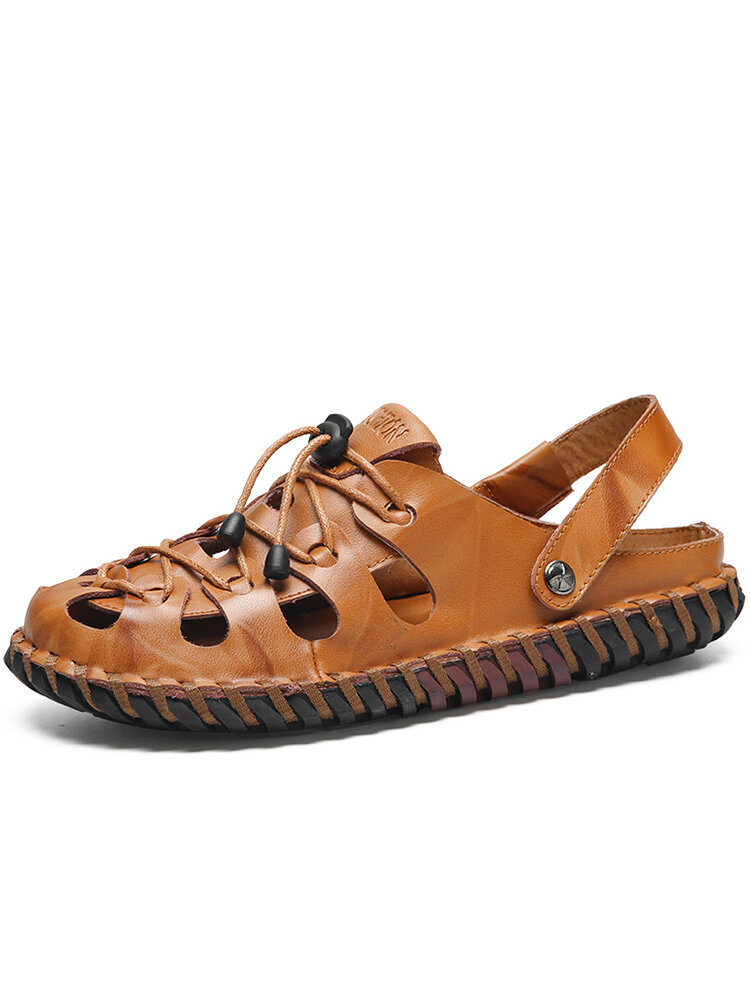 Men Hand Stitching Cow Leather Non Slip Soft Casual Sandals