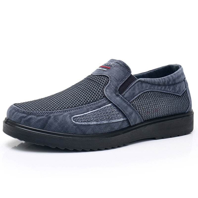 Men Denim Hollow Breathable Wearable Casual Slip-on Flat Shoes