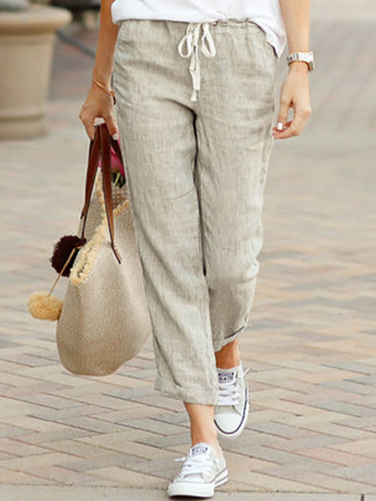 Solid Color Casual Drawstring Elastic Waist Soft Cotton Pants