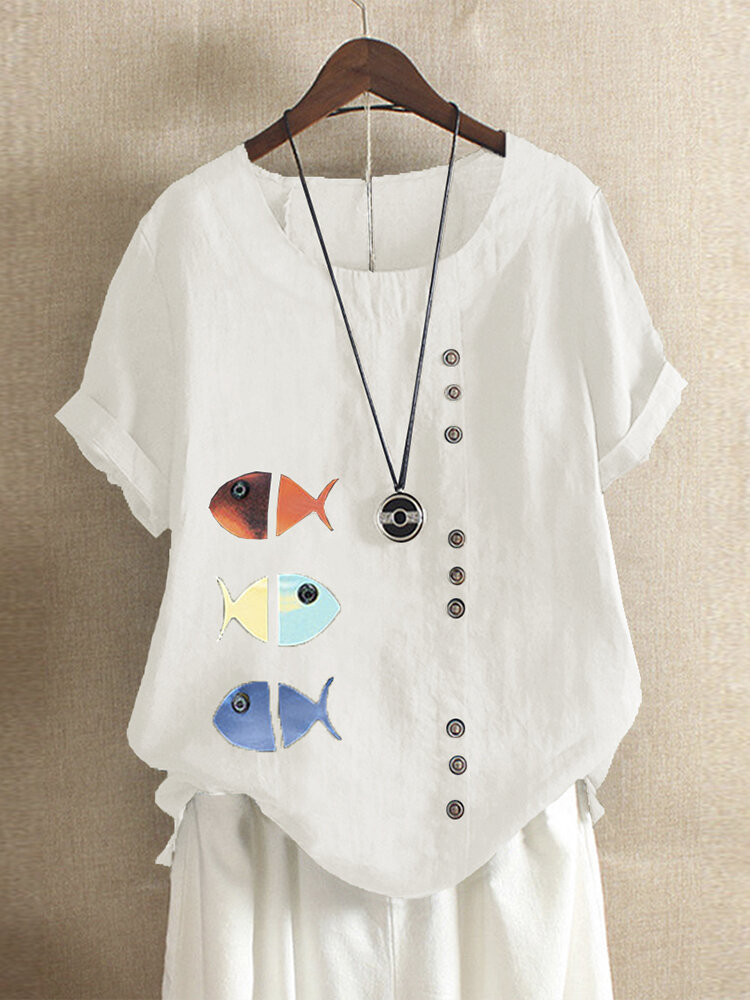 Fish Print Short Sleeve Button Plus Size Summer T-shirt