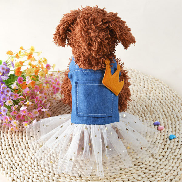 Denim Dress Fashion Pet Dog Clothes Leisure Dresses Shirt Skirt For Small Medium Dogs XS-XL