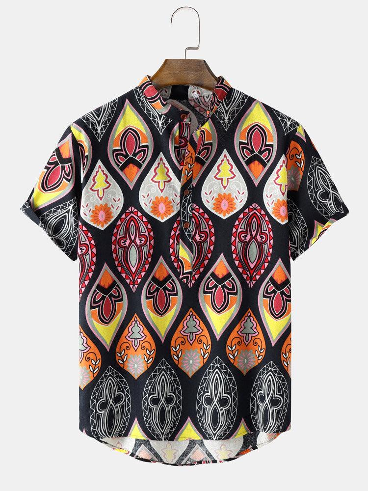 Mens Tribal Graphics Short Sleeve Curved Hem Holiday Henley Shirt