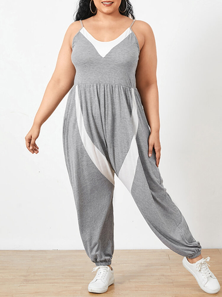 Patchwork SleevelessV-neck Plus Size Casual Jumpsuits