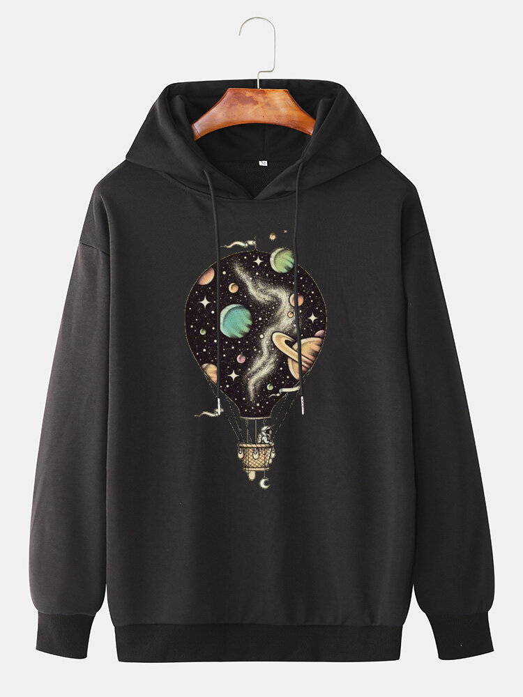 Mens Hot Air Balloon Graphic Print Cotton Relaxed Fit Drawstring Pullover Hoodies