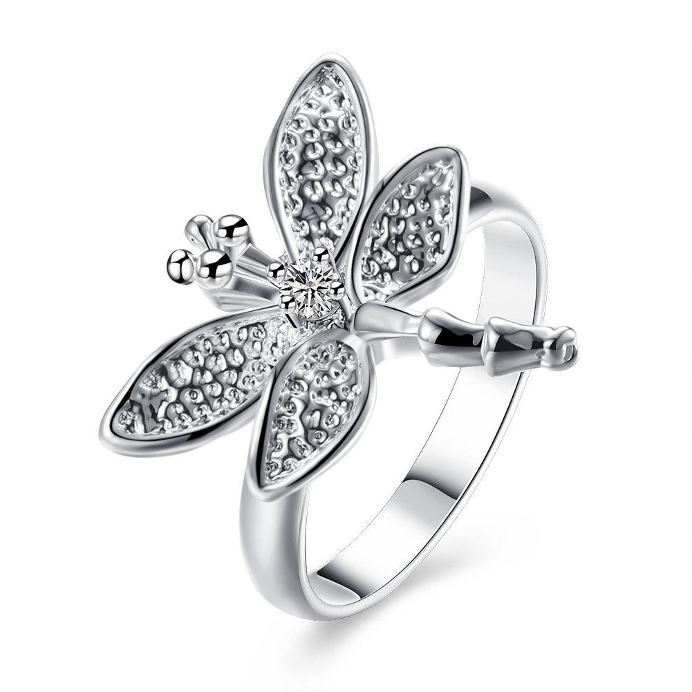 YUEYIN Luxury Ring Zircon Dragonfly Women Ring Gift