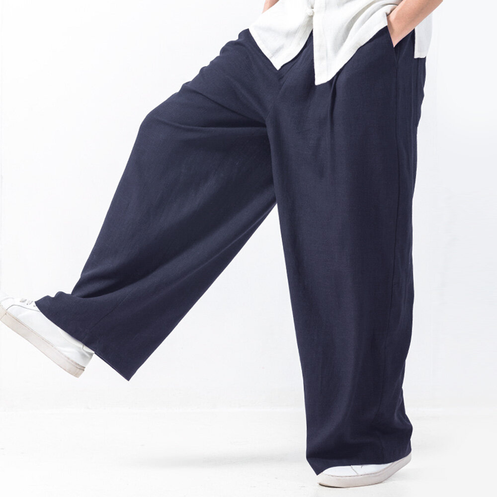 06e8b2881f9ee TWO-SIDED Mens Baggy Style Cotton Solid Color Elastic Waist Casual Wide Leg  Pants Online-NewChic