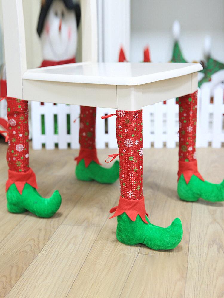 1 قطعة أغطية أرجل كرسي الكريسماس لتزيين الغلاف الجوي غطاء غبار للطاولة مانع للانزلاق
