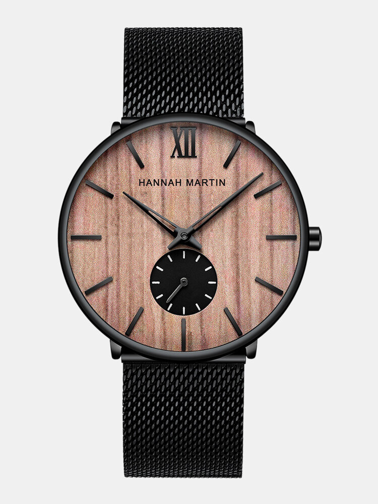 Ultra Thin Men Business Watch Ebony Wood Grain Bamboo Wood Dial Steel Mesh Band Quartz Watch