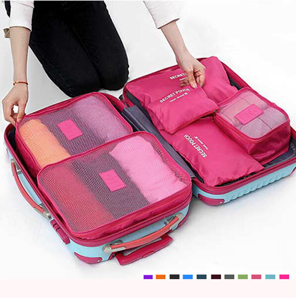 8287210f5616 6Pcs Waterproof Cube Travel Storage Bags Clothes Pouch Nylon Luggage  Organizer Travel Bag