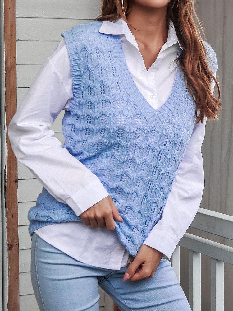 Solid Sleeveless Knitted Crochet Pullover V-neck Sweater
