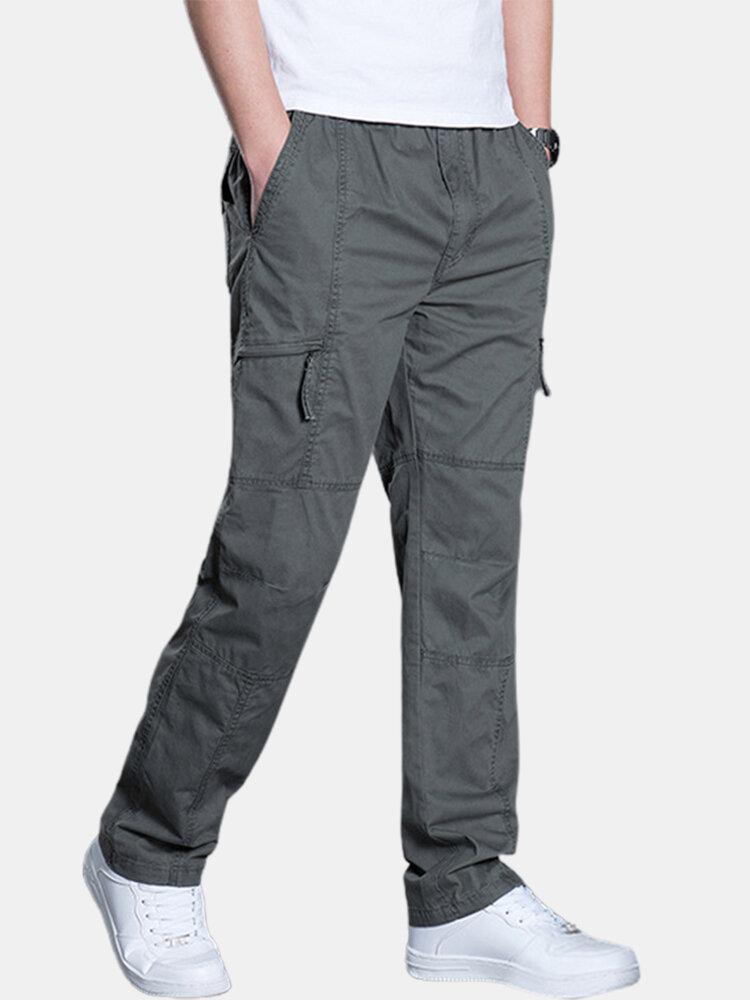 Pantalon cargo droit décontracté en coton utilitaire de couleur unie - Newchic - Modalova