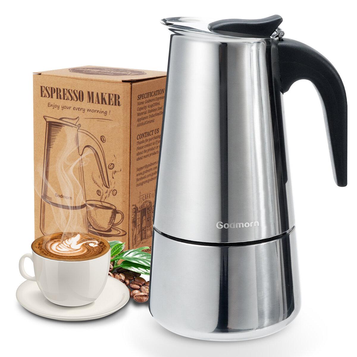 Godmorn Stovetop Espresso Maker Итальянская кофеварка Moka Pot 430 из нержавеющей стали Classic Cafe Maker
