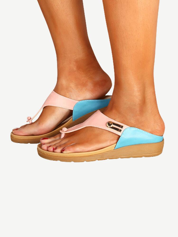 Summer Casual Beach Splicing Flip Flops Soft Sandals for Women
