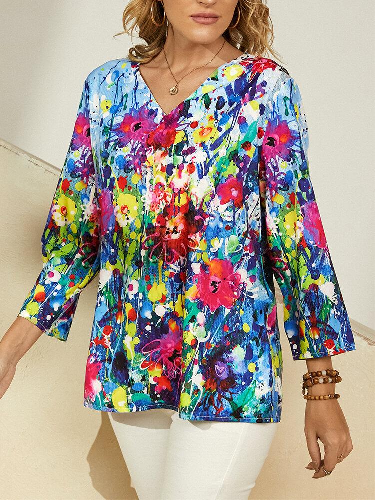 Flower Oil Painting Print V-neck Plus Size Casual T-Shirt For Women