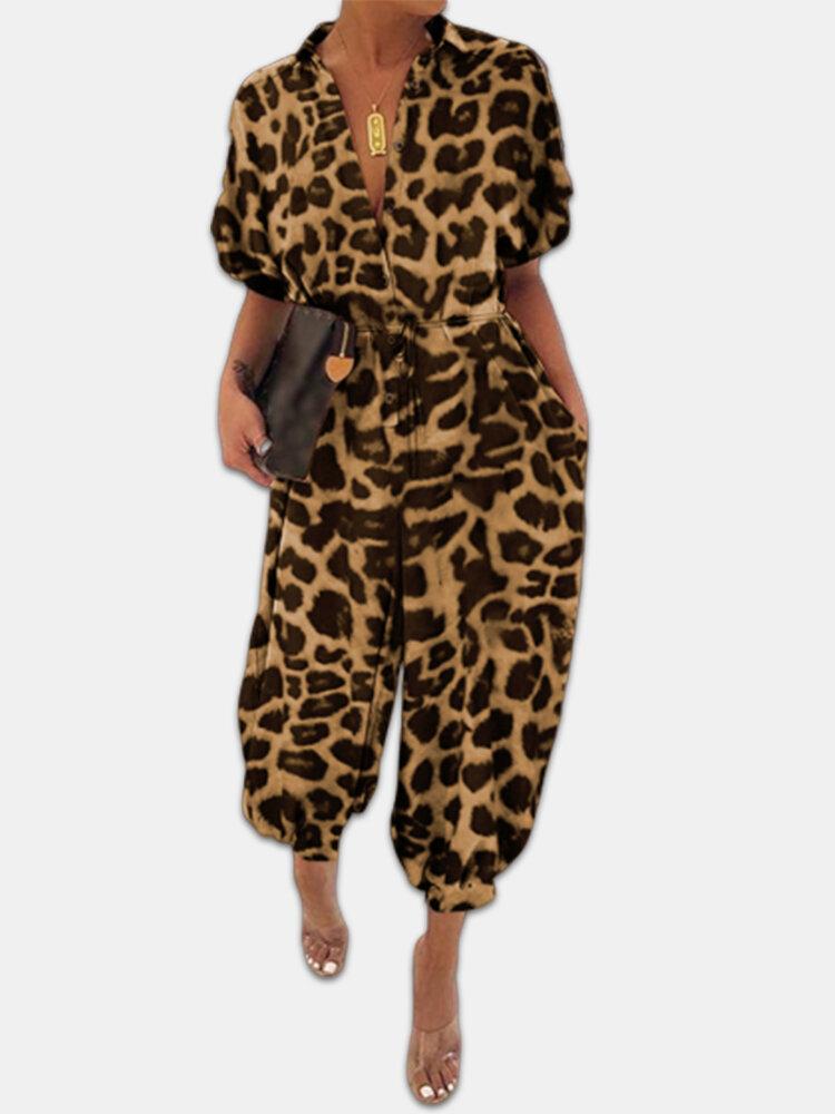 ヒョウ柄半袖ベルト付きプラスサイズカーゴジャンプスーツ