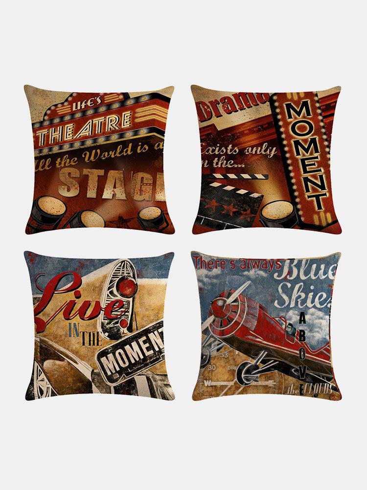 4 Pcs Vintage Retro Movie Projector Cinema Printed Linen Cushion Cover Home Sofa Decor Throw Pillow Cover Pillowcases
