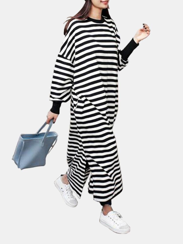 Casual O-neck Overhead Split Hem Long Sleeve Maxi Dress With Side Pockets