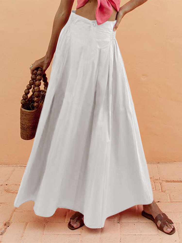 Casual Solid Color Elastic Waist Plus Size A-line Skirt