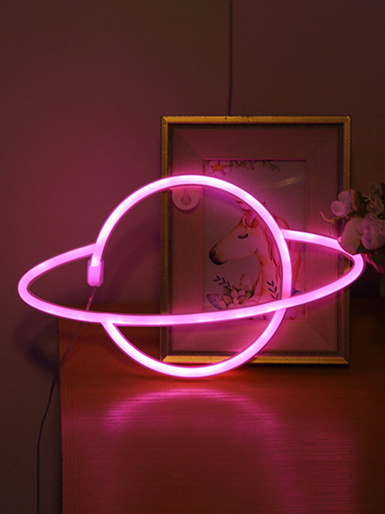 LED Planet Pattern Neon Light Dual-use Battery USB Charging Home Room Decor Night Light For Club Bedroom Living Room Party Garden
