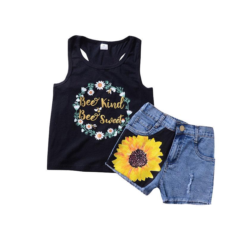 2Pcs/Set Toddler Girl Summer Flower T-Shirt Top+ Denim Shorts Set For 2Y-9Y