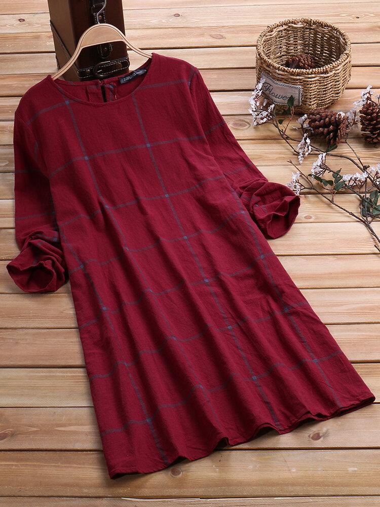チェック柄長袖ルーズクルーネックプラスサイズのヴィンテージドレス