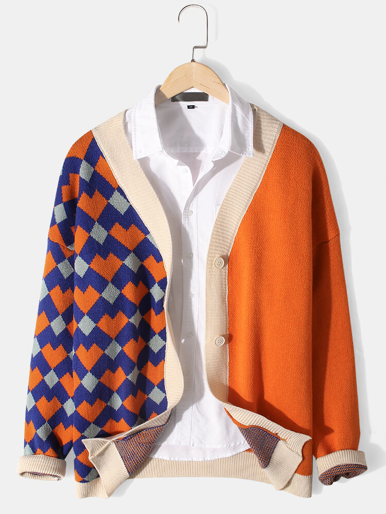 Mens Argyle Pattern Patchwork Knit Button Front Casual Long Sleeve Cardigans