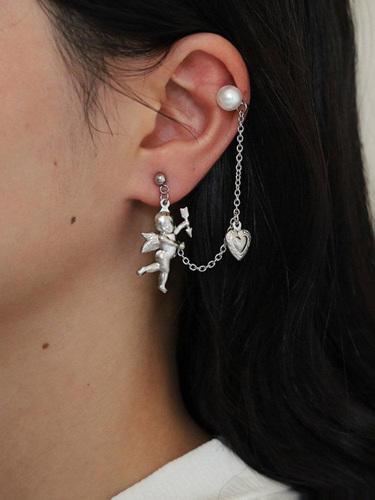 Vintage Little Angel Cupid Pendant Earrings Peach Heart Hanging Chain Earring Ear Bone Clip