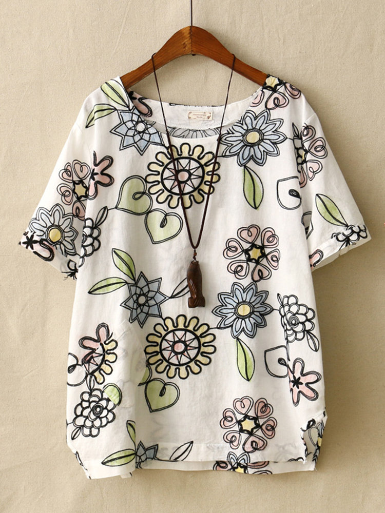 Embroidery Print Floral Short Sleeve Casual T-Shirt