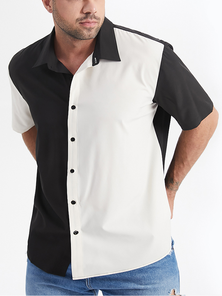 Plus Size Mens Two Tone Contrast Color Lapel Casual Short Sleeve Shirt