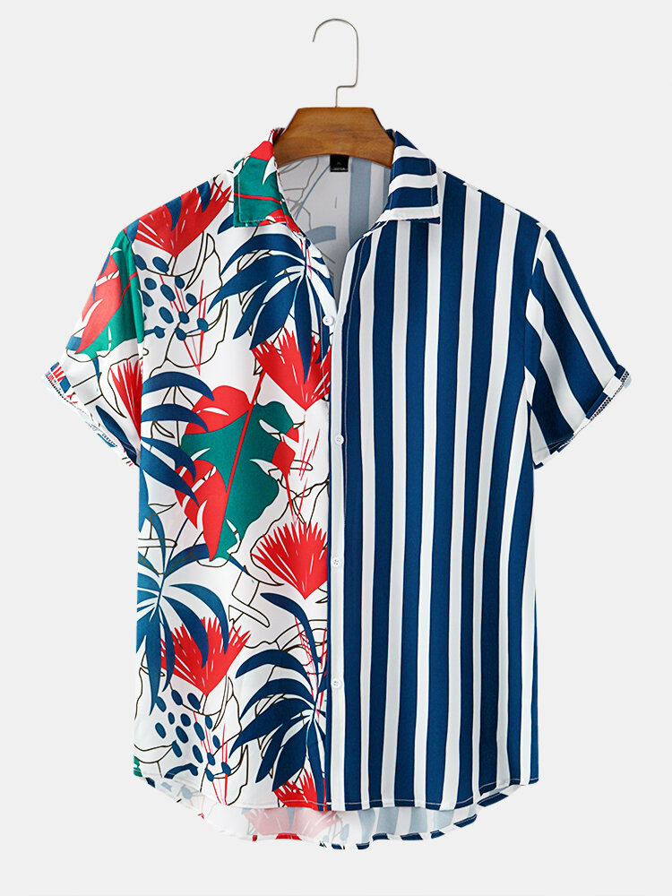 Mens Printed Floral Stripe Patchwork Holiday Casual Short Sleeve Shirts
