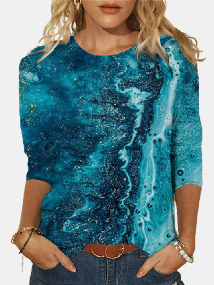 Casual Print O-neck Long Sleeve Plus Size Cotton Blouse for Women