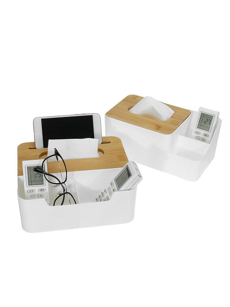 <US Instock> 多機能ペンシルリモートコントロール木製ナプキンティッシュボックスカバーホルダーデスク収納ボックス家庭用およびオフィス用コンテナ