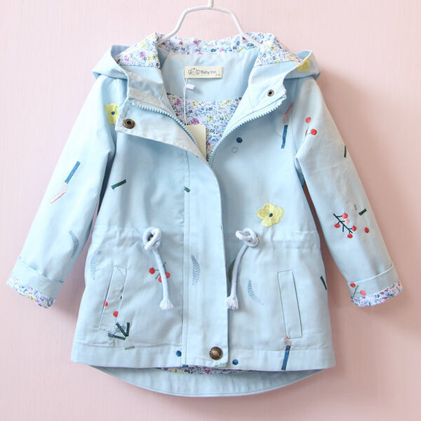 Girls Floral Embroidered Autumn Winter Jackets Trench Coats Hoodie Outwears For 3Y-11Y