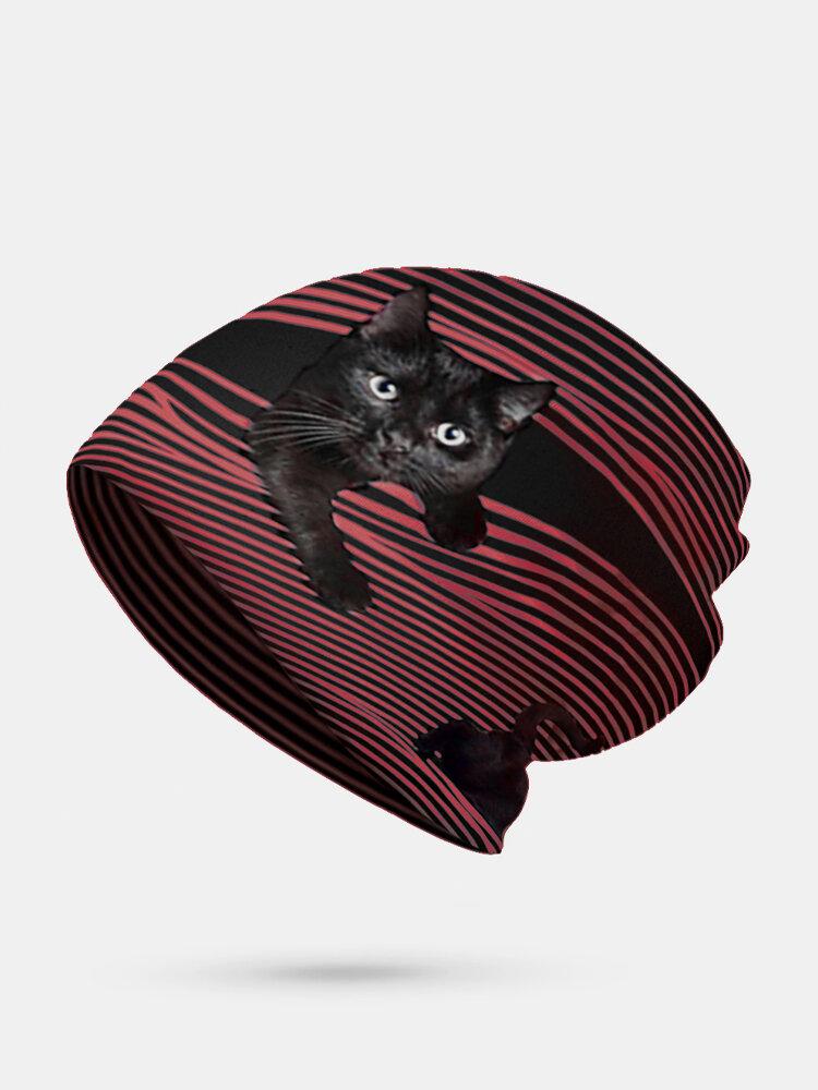 महिला Plus मखमली बिल्ली प्रिंट स्ट्राइप पैटर्न Soft व्यक्तित्व सांस पगड़ी टोपी बेनी